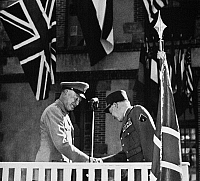 0086766 © Granger - Historical Picture ArchiveDWIGHT D. EISENHOWER   (1890-1969). 34th President of the United States. Eisenhower (left) bidding farewell to French General Alphonse Juin when stepping down as Supreme Commander of NATO, May 1952, at NATO headquarters in Fontainebleau, France.