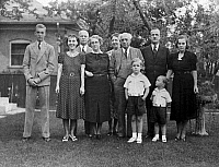 0259719 © Granger - Historical Picture ArchiveEISENHOWER FAMILY, 1938.   The Eisenhower family photographed in Denver, Colorado, October 1938. Left to right: John, Mamie, Dwight, Elivera Doud, unidentified, John Doud, Richard, Mr. Gill Moore, Michael and Mabel Gill Moore (Mamie's sister).
