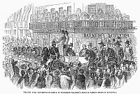 0089889 © Granger - Historical Picture ArchiveMILLARD FILLMORE (1800-1874).   13th President of the United States. Procession in New York in honor of President Fillmore passes by Barnum's American Museum on Broadway, 1851. Contemporary American wood engraving.