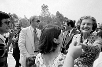 0125908 © Granger - Historical Picture ArchiveBETTY FORD (1918-2011).   Née Elizabeth Anne Bloomer. Wife of Gerald Ford. As First Lady, shaking hands at a campaign stop in the South, September 1976. Photographed by Thomas J. O'Halloran.
