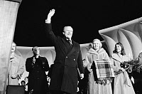 0125910 © Granger - Historical Picture ArchiveGERALD FORD (1913-2006).   38th President of the United States. Waving to crowds at the lighting of the National Christmas Tree in Washington, D.C., 16 December 1976. Photographed by Marion S. Trikosko.