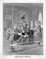 0034551 © Granger - Historical Picture ArchiveJAMES A. GARFIELD: FAMILY.   President James A. Garfield (1831-1881) at home with his family. Lithograph, American, 1882.