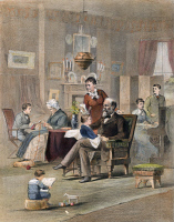 0059248 © Granger - Historical Picture ArchiveJAMES A. GARFIELD: FAMILY.   President James A. Garfield (1831-1881) at home with his family. Lithograph, American, 1882.
