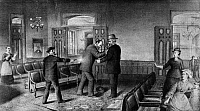 0131610 © Granger - Historical Picture ArchiveGARFIELD ASSASINATION.   Charles J. Guiteau shooting President James A. Garfield at the Baltimore & Potomac Rail Road station in Washington, D.C., 2 July 1881. At right is Secretary of State James G. Blaine. Lithograph by W.J. Matthews, 1881.