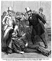 0266200 © Granger - Historical Picture ArchiveGARFIELD ASSASSINATION.   'Washington D.C. - The attack on the president's life - Mrs. Smith supporting the president while awaiting the arrival of the ambulance.' Engraving from 'Frank Leslie's Illustrated Newspaper,' 16 July 1881.