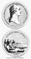 0113468 © Granger - Historical Picture ArchiveGEORGE WASHINGTON   (1732-1799). 1st President of the United States. 'George Washington Before Boston.' Medal cut by Pierre Simon Benjamin Duvivier, 1786, commemorating the American War of Independence. Wood engraving, American, 1852.