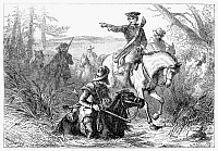 0113498 © Granger - Historical Picture ArchiveGEORGE WASHINGTON  (1732-1799). First President of the United States. George Washington gives orders on horseback en route to Fort Duquesne to drive out French forces. Etching, 1877.