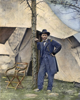 0007916 © Granger - Historical Picture ArchiveULYSSES S. GRANT.   Commander of the Union Armies, Ulysses S. Grant, at City Point, Virginia, during the siege of Petersburg, Virginia, during the American Civil War, 1864. Oil over photograph.