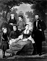 0062272 © Granger - Historical Picture ArchiveGENERAL GRANT AND FAMILY.   Ulysses S. Grant (1822-1885), 18th President of the United States, and his family. Mezzotinit by John Sartain, 1868, after William Cogswell.
