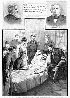 0089321 © Granger - Historical Picture ArchiveULYSSES S.GRANT (1822-1885).   18th President of the United States. Grant's death at Mount McGregor, New York, 23 July 1885, with portraits (top) of attending physician John H. Douglas (left) and Methodist Episcopal minister John Philip Newman. Contemporary American wood engravings. At top center is one of Grant's last handwritten messages, dated 19 July.