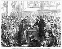 0089920 © Granger - Historical Picture ArchiveULYSSES S. GRANT   (1822-1885). Ex-President Ulysses S. Grant being presented the Freedom of the City of London at Guildhall on 15 June 1877. Engraving from an English newspaper.