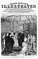 0110052 © Granger - Historical Picture ArchiveWHITE HOUSE WEDDING, 1874.   The wedding ceremony of Ellen 'Nellie' Wrenshall Grant and Algernon Charles Frederick Sartoris at the White House on 21 May 1874. Wood engraving, American, 1874.