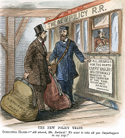 0055843 © Granger - Historical Picture ArchiveR. B. HAYES: CARPETBAGGERS.   The New Policy Train: After the withdrawal of Federal troops from the South, President Hayes conducts a carpetbagger to a train heading north. Cartoon from an American newspaper of 1877.
