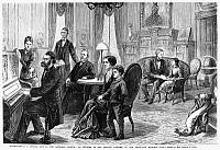 0111388 © Granger - Historical Picture ArchiveRUTHERFORD B. HAYES   (1822-1893). 19th President of the United States. Hayes (seated at table) relaxing with family and friends at the White House. Line engraving, American, late 19th century.