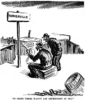 0005946 © Granger - Historical Picture ArchiveHOOVER CARTOON, 1935.   D.R. Fitzpatrick's cartoon commenting on ex-President Herbert Hoover's speech at St. Louis, Missouri, in December 1935 in which he indicated strongly that the 'depression' was practically a figment of the imagination.