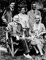 0017157 © Granger - Historical Picture ArchiveHERBERT HOOVER (1874-1964).   31st President of the United States. Standing: Herbert Hoover Jr., Mrs. Herbert Hoover Jr., Allan Hoover, Seated: President Hoover and First Lady Lou Hoover, c1930.