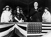 0131694 © Granger - Historical Picture ArchiveWARREN G. HARDING   (1865-1923). 29th President of the United States. President and Mrs. Florence Harding (wearing fox) at a horse show, May 1923.
