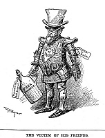 0058307 © Granger - Historical Picture ArchiveHARRISON CARTOON, 1888.   Republican Presidential candidate Benjamin Harrison portrayed as beholden to the moneyed interests of the country. Cartoon, 1888, by W.A. Rogers.