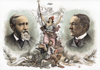 0355178 © Granger - Historical Picture ArchivePRESIDENTIAL CAMPAIGN, 1888. Benjamin Harrison and Levi P. Morton as the Republican party candidates for President and Vice President. Lithograph campaign poster by Sackett & Wilhelms, 1888.