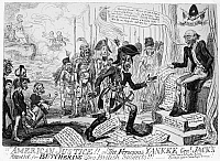 0005184 © Granger - Historical Picture ArchiveANDREW JACKSON (1767-1845).   Seventh President of the United States. An English view on the hanging of two British subjects by Jackson during the Seminole campaign in Florida. Cartoon etching, 1819, London, England.