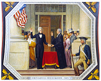 0621562 © Granger - Historical Picture ArchiveANDREW JACKSON (1767-1845).  Seventh President of the United States. Taking the oath of office, administered by Supreme Court Chief Justice John Marshall, 4 March 1829. U.S. Capitol ceiling mural by Allyn Cox, c1974.