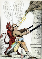 0008499 © Granger - Historical Picture ArchiveMAD TOM IN A RAGE, 1801.   A Federalist cartoon etching of 1801 attacking the administration of Thomas Jefferson. But historians differ as to whether the figure of 'Mad Tom' is meant to be Jefferson or his friend Tom Paine. Cartoon, 1801.