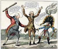 0010478 © Granger - Historical Picture ArchiveCARTOON: JEFFERSON, 1809.   'Intercourse or Impartial Dealings.' An American cartoon of 1809 by 'Peter Pencil' showing President Thomas Jefferson being robbed by England (King George) and Napoleon as a result of Jefferson's embargo policy. Cartoon, 1809.