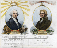 0030132 © Granger - Historical Picture ArchiveTHOMAS JEFFERSON (1743-1826).   Third President of the United States. 'Look on this picture, and on this.' American cartoon, 1807, unfavourably comparing then-President Thomas Jefferson (right) to his predecessor, George Washington.