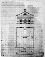 0113561 © Granger - Historical Picture ArchiveUNIVERSITY OF VIRGINIA.   Drawing and floor plan of a pavilion at the University of Virginian, early 19th century.