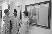 0527713 © Granger - Historical Picture ArchiveWHITE HOUSE ART FESTIVAL.   Marion Anderson and Lady Bird Johnson standing in front of 'Christina's World' by Andrew Wyeth at the White House Art Festival. Photograph by Marion Trikosko, 14 June 1965.