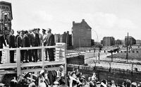 0014582 © Granger - Historical Picture ArchiveJFK IN BERLIN, 1963.   President John F. Kennedy and German Chancellor Konrad Adenauer at 'Checkpoint Charlie' by the Berlin Wall during Kennedy's visit to West Berlin on 26 June 1963.