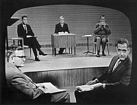 0016237 © Granger - Historical Picture ArchiveKENNEDY-NIXON DEBATE, 1960.   The first presidential debate (and the first televised debate) between Senator John F. Kennedy and Vice President Richard M. Nixon, moderated by Howard K. Smith, during the 1960 presidential election. Photograph, 26 September 1960.
