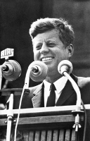 0016855 © Granger - Historical Picture ArchiveJOHN F. KENNEDY (1917-1963).   35th President of the United States. Making his memorable 'I am a Berliner,' or 'Ich bin ein Berliner,' address during a visit to West Berlin, 26 June 1963. Kennedy's use of the indefinite article 'ein' resulted in the misconception that he had called himself a jelly doughnut, known as Berliners in Germany.