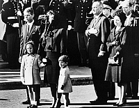 0031233 © Granger - Historical Picture ArchiveKENNEDY FUNERAL, 1963.   The funeral ceremony for President John F. Kennedy at Washington, D.C., 25 November 1963. From left: his brother Robert, his widow Jacqueline and their children Caroline and John, and President and Mrs. Lyndon B. Johnson.