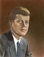 0053268 © Granger - Historical Picture ArchiveJOHN F. KENNEDY (1917-1963).   Oil over a photograph, c1961.