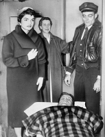 0116063 © Granger - Historical Picture ArchiveJOHN F. KENNEDY (1917-1963).   35th President of the United States. Senator Kennedy on a stretcher following spinal surgery, as his wife, Jacqueline, and his mother, Rose, stand over him. Photograph by Dick DeMarsico, 21 December 1954.