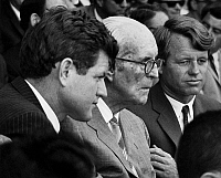 0168682 © Granger - Historical Picture ArchiveJOSEPH P. KENNEDY (1888-1969).   American businessman and diplomat; father of U.S. President John F. Kennedy. Photographed c1967 flanked by two of his sons, Senator Edward 'Ted' Kennedy of Massachusetts (left) and Senator Robert Kennedy of New York.
