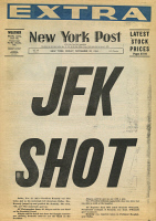 0370611 © Granger - Historical Picture ArchiveJOHN F. KENNEDY (1917-1963).   35th President of the United States. Front page of the New York Post, 22 November 1963, announcing Kennedy's assassination.