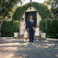 0527150 © Granger - Historical Picture ArchiveKENNEDY FAMILY, 1963.   President John F. Kennedy with his family leaving church on Easter in Palm Beach, Florida. Photograph by Cecil Stoughton, 14 April 1963.