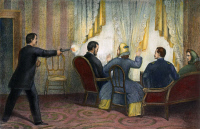 0008635 © Granger - Historical Picture ArchiveLINCOLN: ASSASSINATION, 1865. The assassination of President Abraham Lincoln by John Wilkes Booth at Ford's Theatre, Washington, D.C., 14 April 1865. Lithograph, 1865.