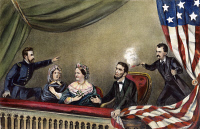 0008636 © Granger - Historical Picture ArchiveLINCOLN: ASSASSINATION, 1865. The assassination of President Abraham Lincoln by John Wilkes Booth at Ford's Theatre, Washington, D.C., 14 April 1865. Lithograph by Currier & Ives, 1865.