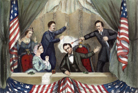 0008637 © Granger - Historical Picture ArchiveLINCOLN: ASSASSINATION, 1865. The assassination of Abraham Lincoln by John Wilkes Booth at Ford's Theatre, Washington D.C., 14 April 1865. Lithograph, 1865.