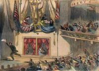 0008638 © Granger - Historical Picture ArchiveLINCOLN ASSASSINATION, 1865. The assassination of President Abraham Lincoln by John Wilkes Booth at Ford's Theatre, Washington, D.C., 14 April 1865. Engraving, 1865.