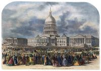 0008871 © Granger - Historical Picture ArchiveLINCOLN INAUGURATION, 1865.   The second inauguration of President Abraham Lincoln in Washington, D.C., 4 March 1865. Contemporary American wood engraving.