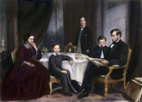 0009458 © Granger - Historical Picture ArchiveLINCOLN FAMILY, 1861.  President Abraham Lincoln with wife Mary Todd Lincoln and their sons Willie, Robert, and Tad. Engraving by J.C. Buttre after a painting by Francis B. Carpenter, 1861.