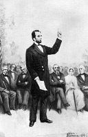 0034835 © Granger - Historical Picture ArchiveABRAHAM LINCOLN   (1809-1865). 16th President of the United States. Lincoln delivering his Gettysburg Address, 19 November 1863. Gravure after a painting, 1895, by Stephen James Ferris.
