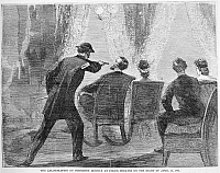 0045185 © Granger - Historical Picture ArchiveLINCOLN ASSASSINATION.   The assassination of President Abraham Lincoln by John Wilkes Booth at Ford's Theatre, Washington, D.C., 14 April 1865. Wood engraving from a contemporary newspaper.