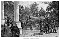 0051476 © Granger - Historical Picture ArchiveLINCOLN REVIEWING TROOPS.   President Abraham Lincoln reviewing Union troops marching past the White House in mid-August, 1862, to the accompaniment of Stephen Foster's song, 'We Are Coming Father Abraham, Three Hundred Thousand More'. Wood engraving, American, 19th century.