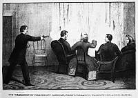 0053184 © Granger - Historical Picture ArchiveLINCOLN: ASSASSINATION, 1865. The assassination of President Abraham Lincoln by John Wilkes Booth at Ford's Theatre, Washington, D.C., 14 April 1865. Lithograph, 1865.