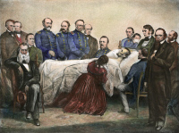 0056847 © Granger - Historical Picture ArchiveDEATH OF LINCOLN, 1865.   The deathbed of President Abraham Lincoln, Washington, D.C., 15 April 1865. Lithograph, American, 1865.